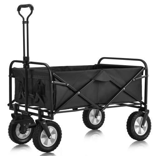 FlyingShadow Bollerwagen faltbar Handwagen Zusammenklappbarer Bollerwagen mit Breiten Bremsrädern für den Garten Außenbereich Gerätewagen inkl. 2 Netztaschen verstellbarem Griff Schwarz