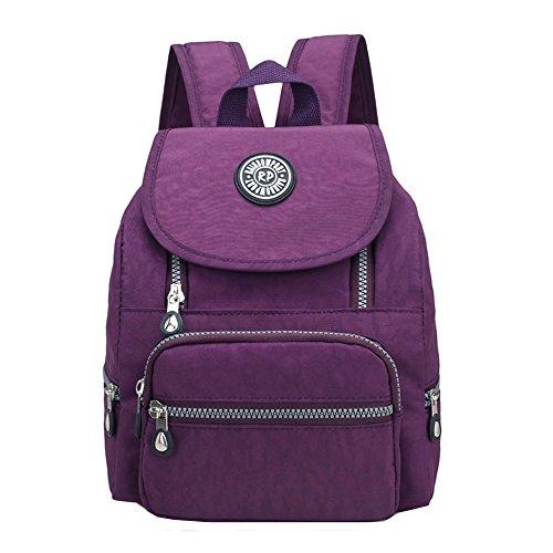 Casual Mini Waterproof Nylon Backpack Purse for Women Girl Small Lightweight Daypack (Purple)