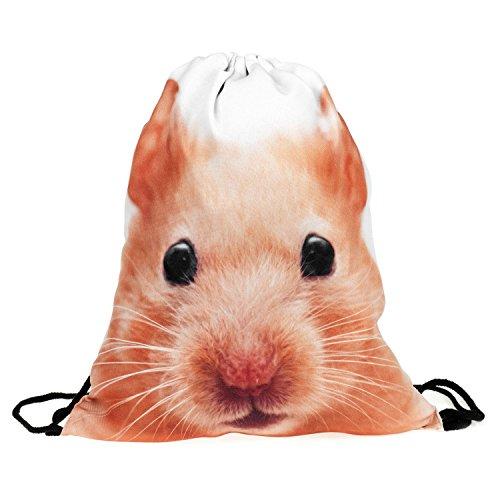 Tasche mit Kordelzug und Aufdruck, Unisex, für Männer und Frauen, zum Umhängen, als Rucksack, Schulbeutel, für die Reise usw. Gr. Einheitsgröße, Hamster