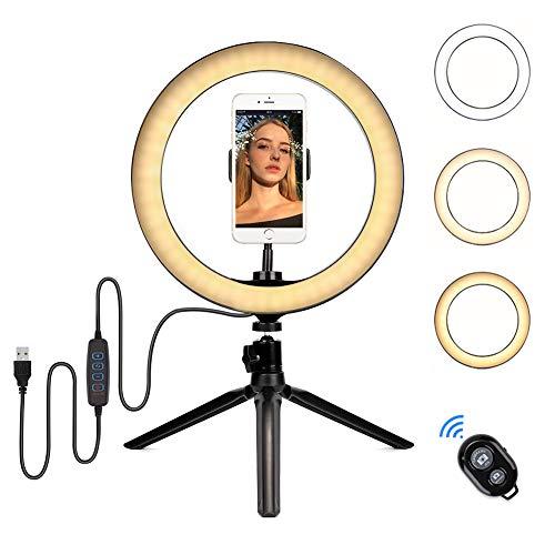 """FREESOO Luz de Anillo de 6.3"""" con Trípode Altura Ajustable 10W Regulable LED para Cámara con 3 Modos de Luz 3200k-6500k y 5 Niveles de Brillo USB para Móvil, Youtube, Disparo Selfie Video Maquillaje"""