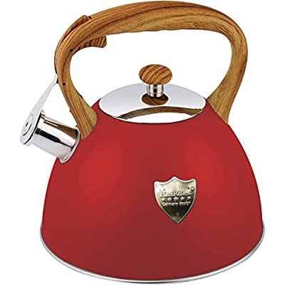 Tea Kettle 3L Stovetop Whistling Teakettle Tea Pot,Food Grade Stainless Steel Teapot Tea Kettles for Stove Top,Cool Wood Pattern Handle,Loud Whistle and Anti-Rust,Suitable for All Heat Source,Red