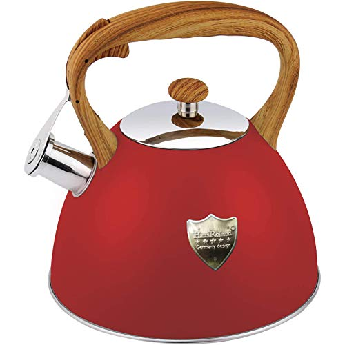 Tea Kettle 3L Stovetop Whistling Teakettle Tea PotFood Grade Stainless Steel Teapot Tea Kettles for Stove TopCool Wood Pattern HandleLoud Whistle and AntiRustSuitable for All Heat SourceRed