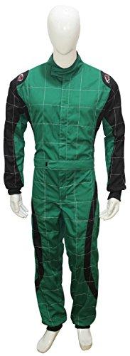 Erwachsene Go Kart Karting Anzug Race Rally passt Poly Baumwolle One Piece Karting Anzug S grün / schwarz