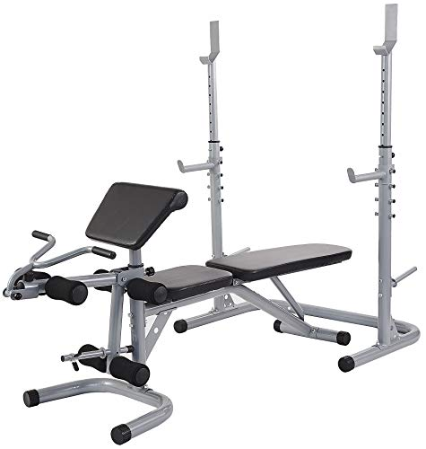 Sporzon Multifunctional Workout Station Adjustable Olympic Workout Bench with Squat Rack, Leg Extension, Preacher Curl, and Weight Storage, 800-Pound Capacity, Gray, Model Number: RS60