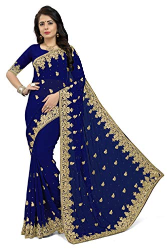 Women's Georgette Saree with Blouse (Blue)