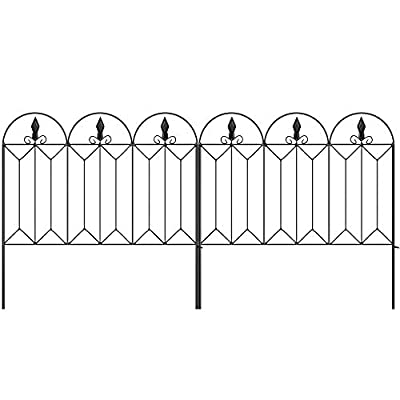 Amagabeli Garden Fence 24inx10ft Outdoor Decorative Fencing Landscape Wire Fencing Folding Wire Patio Border Edge Section Fences Flower Bed Animal Barrier Décor Picket Black Rustproof Panels Wire FC04