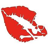 JasonCarlMorgan JCM Imágenes Calavera Labios Pegatina - Rojo Cereza, 85mm