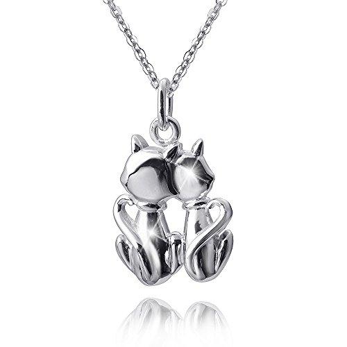 Materia, Ciondolo pendente in argento 925, perle per bambini, piccolo ciondolo in filigrana a forma di gatto, rodiato, ciondolo per collana, con incisione, #KA-349