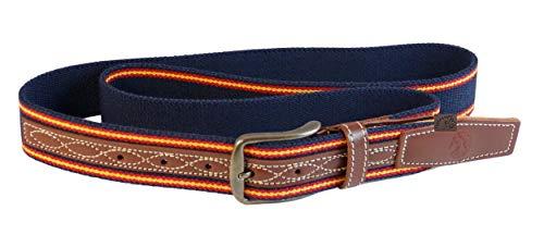 Cinturón Piel/Elastico de 35mm ancho Color Azul 2Tiras España
