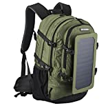 LXXYJ Solar Charging Backpack,Hiking Solar Backpack with Solar Panel And USB Socket for Smartphones And Tablets GPS E-Reader Bluetooth Speaker,Green