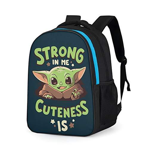 YxueSond - Mochilas de trabajo Mandalorian Baby Yoda 2 con impresión de bolsas escolares puerto para adultos Gris gris talla única