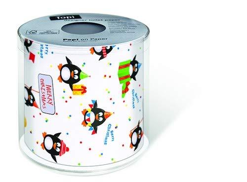 Toilettenpapier Rolle bedruckt Pinguine als lustiges Geschenk für Weihnachten …