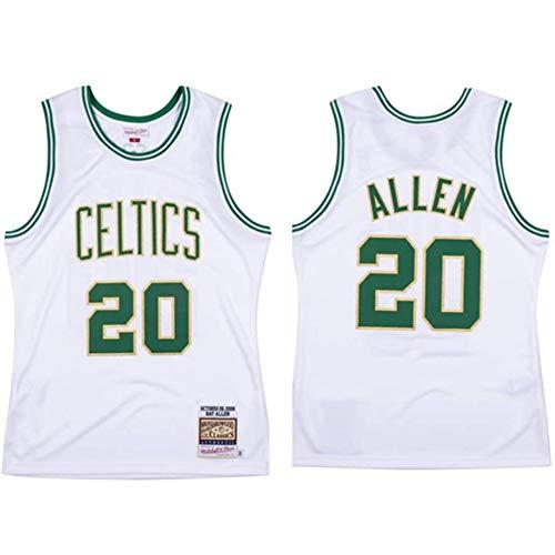 QQA Maglia da Basket Team Celtics Ray Allen # 20 all-Star Vintage Camicie e Top Cool Traspirante Maglia Unisex Camicia Sportiva,M