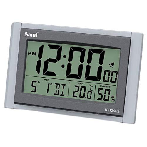 Sami Sami-LD12502PO Reloj Sobremesa Digital Pantalla LCD, Luz LED Blanca y Dígitos XL. Temperatura, Humedad, Alarma y Temporizador de Siesta. Color Plata Oscuro.
