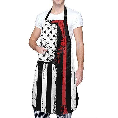 DAHALLAR Ajustable Colgante de Cuello Personalizado Delantal Impermeable,Bombero Línea Roja Bandera Americana,Babero de Cocina Vestido para Hombres Mujeres con 2 Bolsillos Centrales