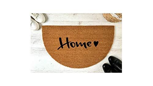 Home Herz Kokos-Fußmatte halbrund   Schmutzfangmatte   Fußabtreter   Türvorleger   Teppich   45 x 75 cm   mit Spruch   Geschenk   Hochzeit   Geburtstag   Einzug   Weihnachten