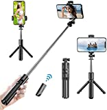 Palo Selfie Trípode,3 en 1 Selfie Stick Móvil ,Bluetooth con Inalámbrico Control Remoto, Mini Monópode Extensible para Phone 11 Pro MAX / 11 Pro/XS MAX/XR / 8, Galaxy S10 / S9,Huawei, Xiaomi