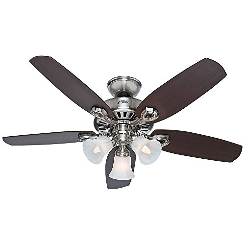 Hunter Fan Company 52106 Hunter Builder Indoor ceiling Fan with LED Light and Pull Chain Control, 42-inch, Brushed Nickel
