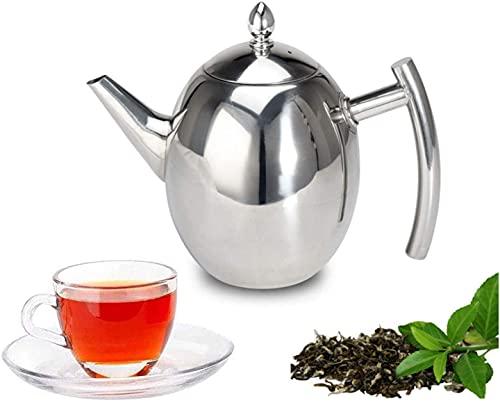 Sharemee - Tetera de acero inoxidable con infusor extraíble para hojas sueltas y bolsitas de té, tetera apta para...