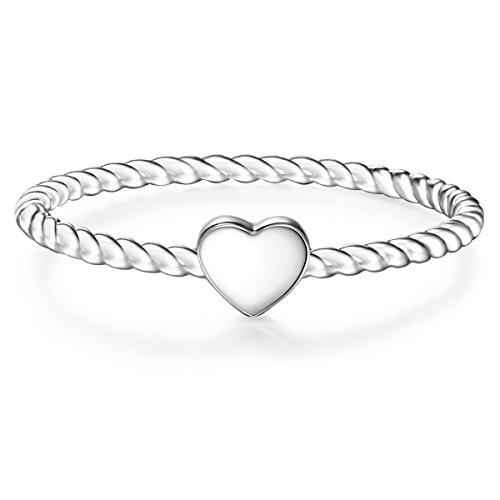 Glanzstücke München Damen-Ring Herz Sterling Silber - Damen-Schmuck Freundschafts-Ringe dünner Steck-Ring