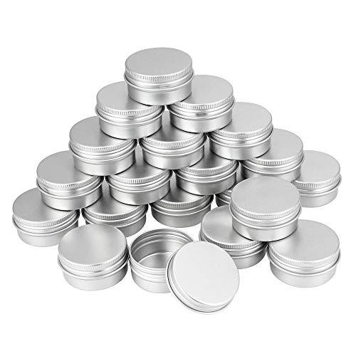 TANCUDER 20 PCS Pot en Aluminium avec Couvercle Boîtes Cosmétiques Conteneurs Rondes 20 ML Pots de Voyage Crème Rondes avec Coussin de Mousse pour Échantillon, Poudre, Boutons, Cosmétiques