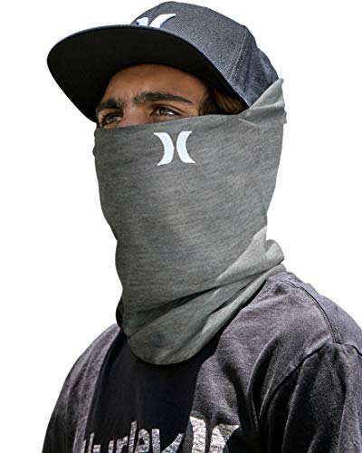 Hurley Multipurpose Neck Gaiter Face Mask with Moisture Wicking Technology, Cool Grey, 1 Size
