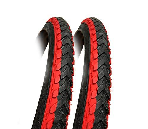 2pk - 26 x 2.125 RED & BLACK bike Tyres - Bicycle Tyres - Mountain Bike etc 26x2.125 (57-559)