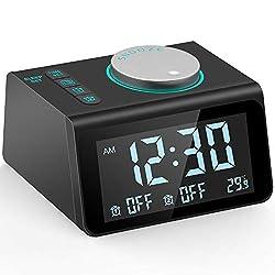 Ksera Digital Alarm Clock Radio, Dual Alarm with 7 Alarm Sounds, Temperature Display, 5 Level Adjustable Brightness, Dual USB Charging Port, Sleep Timer
