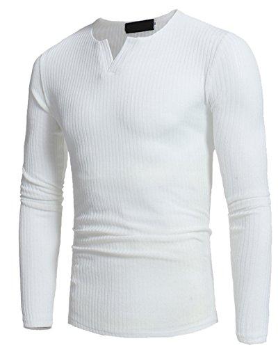 JOLIME Suéter Básico con Cuello Pico Jersey Camiseta Interior Térmica de Manga Larga Hombre Blanco EU S=Tag M