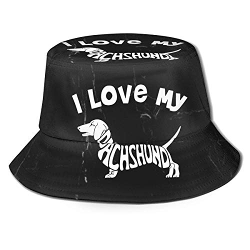 GYHJH Sombrero de Pescador de I Love My Daschund Sombrero Plegable de Viaje para la Playa