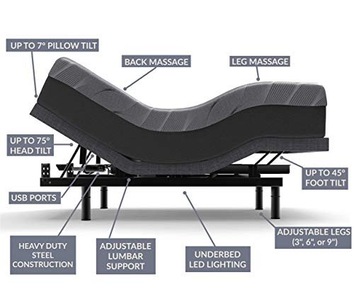 Sven & Son Twin XL Adjustable Bed Frame (Electric Bed with Lumbar Support) Wireless Remote, Dual Massage, USB Ports, LED Lighting, Zero Gravity, and More (Twin XL Adjustable Bed Base)