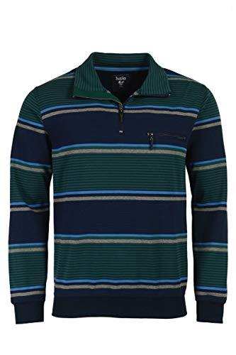 hajo Sweatshirt Langarm Sweat Stay Fresh 26510 609 Marine/grün gestreift, Größe:62 5XL