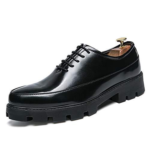 CAIFENG Song Oxford - Zapatos casuales para hombre, con cordones, suela gruesa, puntera redonda, piel de charol color sólido, antideslizante, altura oculta aumentando (color: negro, talla: 41 UE)