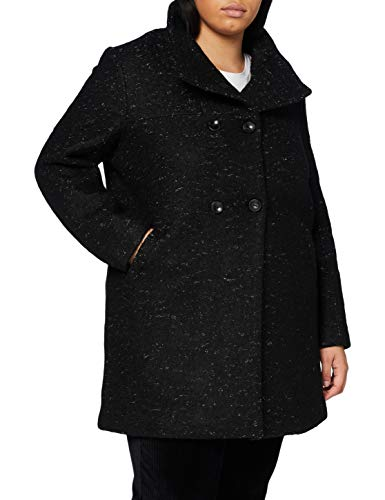 ONLY Carmakoma Damen CARNEWSOPHIA Wool Coat OTW Wollmantel, Black/Detail:Melange, L-50/52
