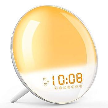 Wake Up Light Sunrise Simulation Alarm Clock Sleep Aid Colored Bedside Light with FM Radio Dual Alarm Adjustable Lightness for Kids and Adults Bedroom