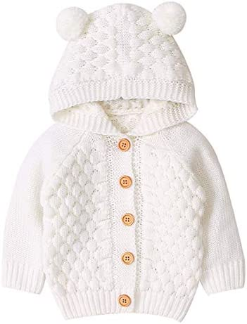 Camidy Infant Baby Boy Girl Knitted Crochet Hooded Jacket Outwear Cardigan Sweaters Beige product image