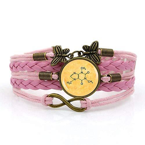 Braccialetto intrecciato, corda rosa molecola chimica della caffeina, braccialetto della pietra preziosa del tempo Multistrato di vetro intrecciato a mano Combinazione di gioielli Moda donna Gioi
