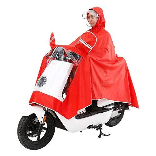 MSYL Doble Impermeable Solo Coche eléctrico Motocicleta batería Coche tranvía Moda Transparente Hombres y Mujeres Gruesos Adultos Rojo