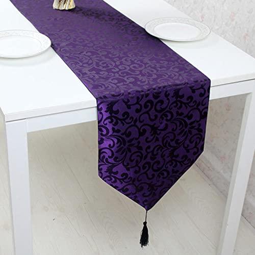 AAPOY Vintage Tischläufer Für 1Pcs Dunkellila Tischläufer Länge Hotelbett Flagge Tischset Couchtisch Bett Ende Handtuch Tischtuch 33 * 195Cm