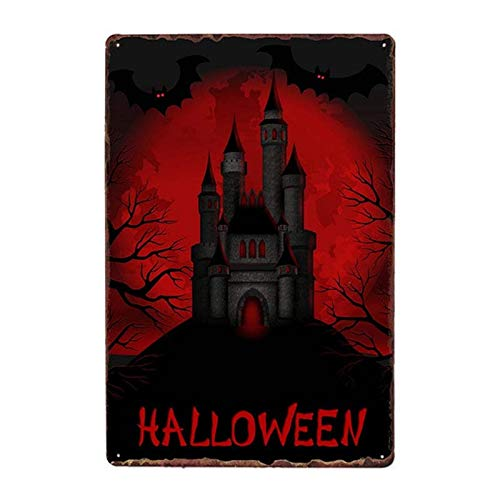 Aya611 Tin plate poster Halloween Theme Poster Children's Room Club Wall Decor Vintage Cartoon Art Painting Metal Tin Sign Retro Iron Sign Plate Plaques 20x30cm 6