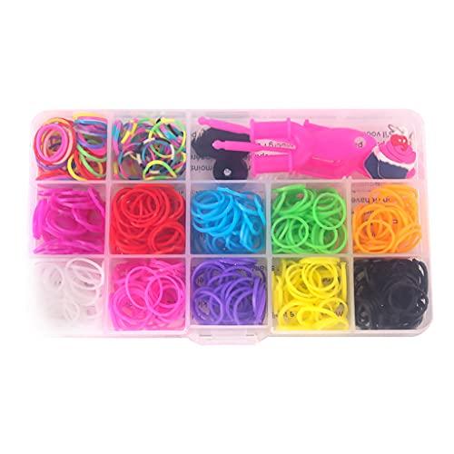 WT-DDJJK 480 unids/15 rejillas DIY tejido a mano banda de goma del arco iris que hace el kit, banda del pelo de la muchacha pulsera telar que hace el juego de juguete