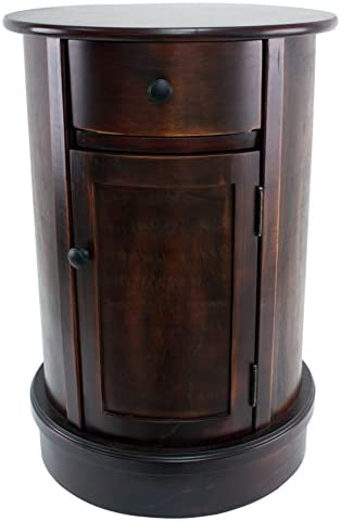 Best Décor Therapy Round Side Table with 1-Door and Drawer, Vintage Cherry