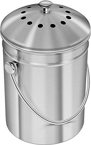 KICHLY Stainless Steel Compost Bin for Kitchen Countertop - 1.3 Gallon Compost Bucket Kitchen Pail Compost with Lid - Includes 1 Spare Charcoal Filter