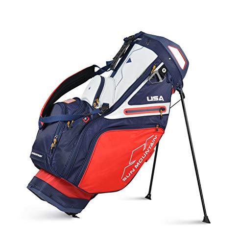 Sun Mountain 2021 C-130S 14-Way Golf Stand Bag (RED-Navy-White)