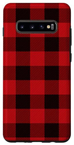 Galaxy S10+ Classic Red & Black Buffalo Plaid Check Pattern Design Phone Case