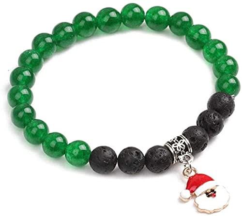 Gymqian Pulsera de Piedra Mujer, 7 Chakra Políneo de Piedra Natural Pulsera de Ágata Verde Elástico Lucky Yoga Bangle Navidad Santa Colgante Joyería para Damas Desgaste diario