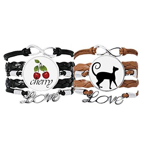 Bestchong Pulsera para amantes de las mascotas, diseño de gato negro con forma de animal y cuerda de cuero, juego doble
