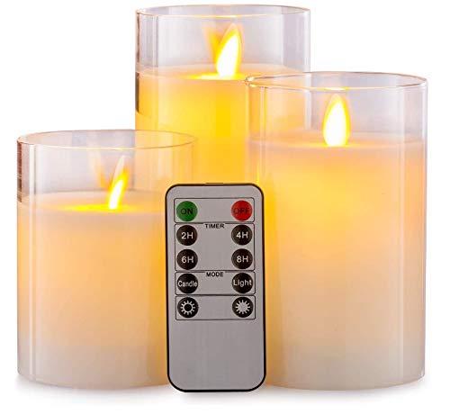 Juego de 3 velas de té con batería sin llama de 10/12,5/15 cm, juego de 3 velas LED de efecto vidrio Luminicious juego de velas de emulación intermitente con mando a distancia con temporizador
