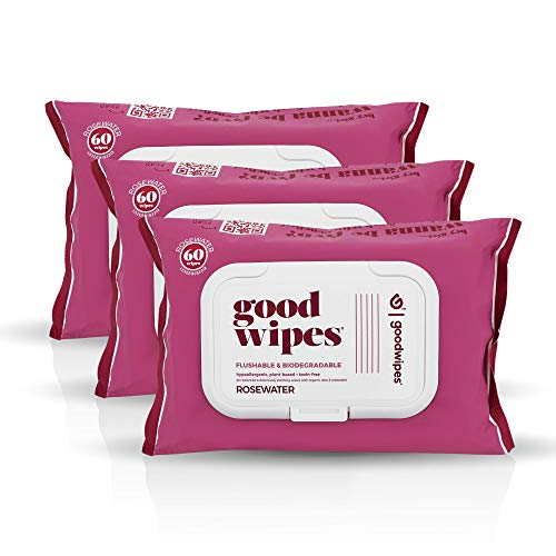 Goodwipes Flushable & Biodegradable Wipes with Botanicals, Dispenser for At-Home Use Safe, Rosewater with Aloe, Septic and Sewer Safe, 180 count (3 packs) - Never Dries Out