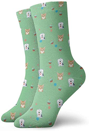 ORANGEW Happy Birthday Cat Sheepdog Casual Crew Socks Funny Novelty Ankle Socks Winter Socks For Men And Women - One Size Fits Most